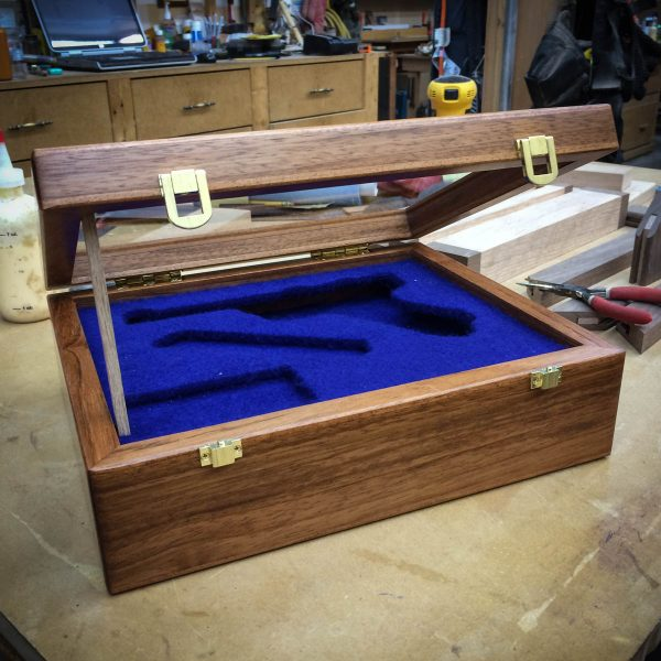 handmade cherry wood display case for collectibles chameleon woodcrafting. Black Bedroom Furniture Sets. Home Design Ideas