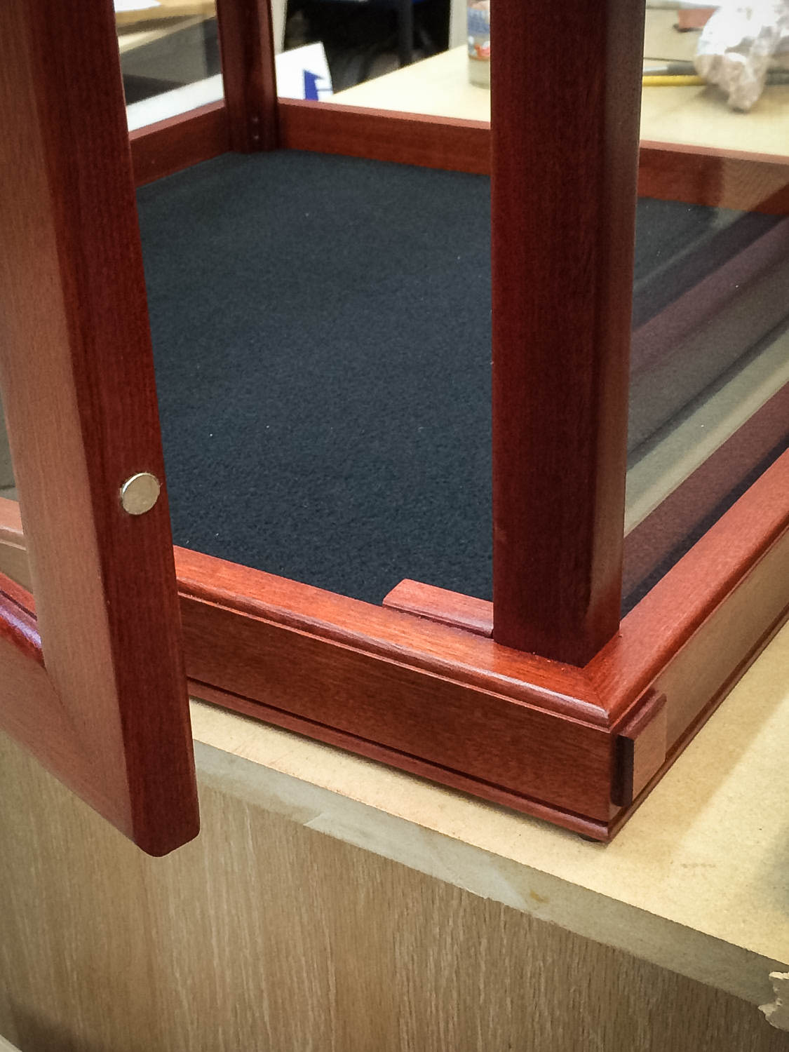 handmade matching set of two exotic blood wood display cases for collectibles chameleon. Black Bedroom Furniture Sets. Home Design Ideas